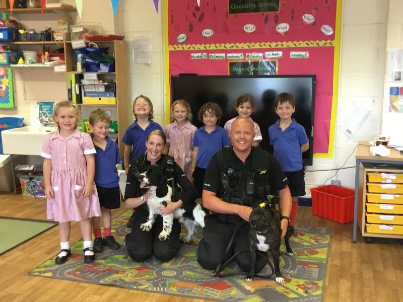 Police Dogs visit Reception